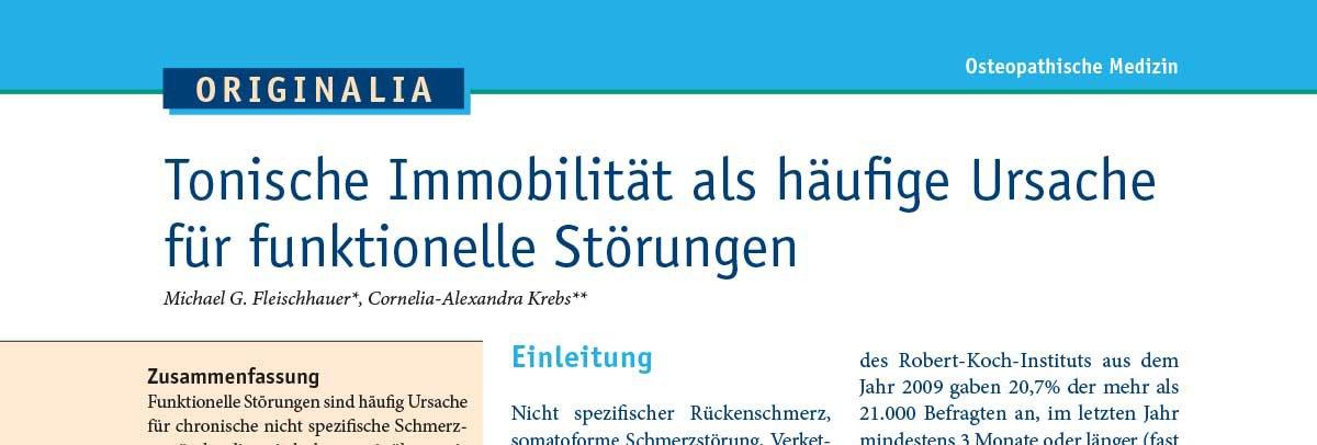 """Auszug aus dem Artikel """"Tonische Immobilität als häufige Ursache für funktionelle Störungen"""""""